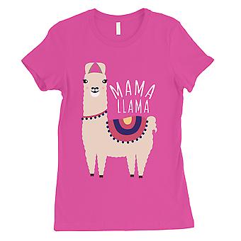 Mama Llama Womens Hot Pink Cute Mothers Day Shirt Funny Mom Gift