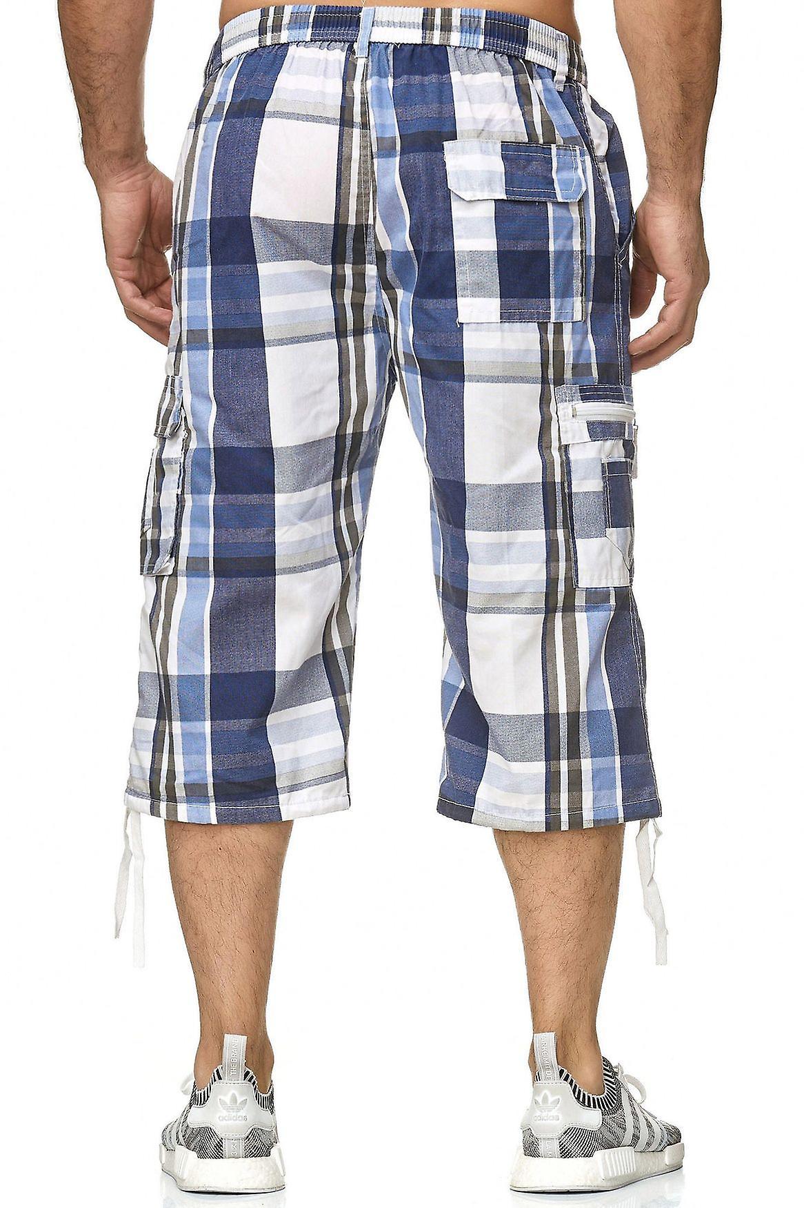 f7df20b1e0486d Herren Bermuda Freizeit Shorts Sommer Karo-Shorts Cargo Capri 3/4 Taschen