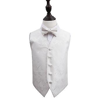 Kamizelka ślubna Ivory Paisley & muszka zestaw dla chłopców