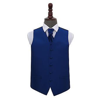 Bleu royal vérification solide mariage gilet & Cravat Set