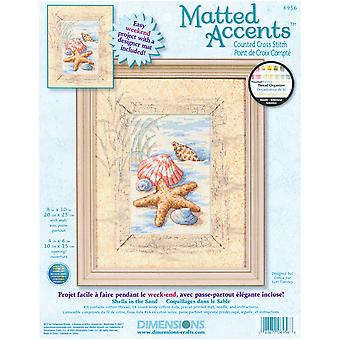 Matted Accents Shells In The Sand Counted Cross Stitch Kit-8