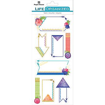 Paper House Life Organized Label Stickers-Live Bold