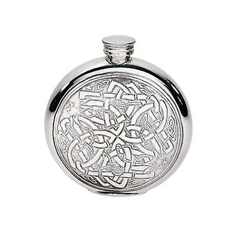 Celtic Round Embossed Pewter Flask - 6oz