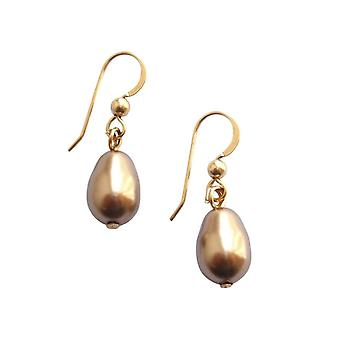 Gemshine - ladies - earrings - bead - champagne - dripping - gold plated - 11 mm