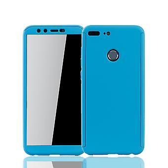 Huawei Honor 9 Lite Handy-Hülle Schutz-Case Cover Panzer Schutz Glas Hellblau