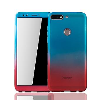 Huawei honor 7C case protective case full cover tank protection glass blue / red