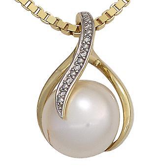 Perlen Anhänger 585 Gold Gelbgold 1 Süßwasser Perle 6 Diamanten Brillanten