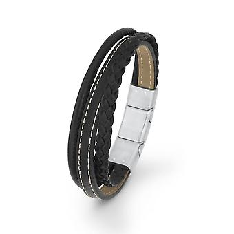 s.Oliver jewel gents bracelet black leather SO1470/1 - 9236022
