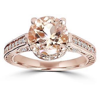 2 Carat Morganite & Diamond Vintage Engagement Ring 14K Rose Gold