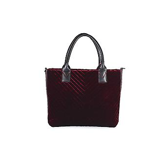 PINKO BURGUNDY VELVET ADAMS MEDIUM SHOPPER