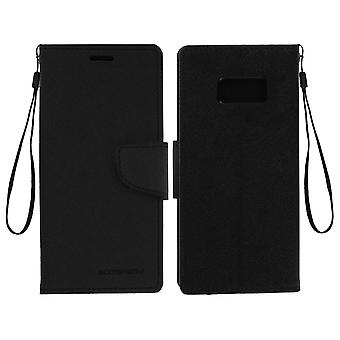 Fancy style cover, wallet case with stand for Samsung Galaxy S8 - Black