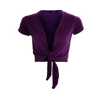 Womens Tie Up Front Cap Sleeve Bolero Colour Shrug Cardigan Wrap Ladies Top