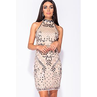 Floral Sequin High Neck Bodycon Dress