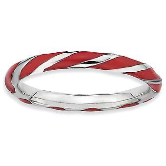 Sterling Silber rhodiniert poliert verdreht rot emaillierten 2,4 x 2.0mm stapelbar Ring - Ring-Größe: 5 bis 10