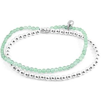 Anchor and Crew Harmony Aventurine Silver and Stone Bracelet - Silver/Green