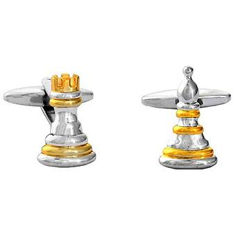 David Van Hagen Chess Pawn en toren Manchetknopen - zilver/goud