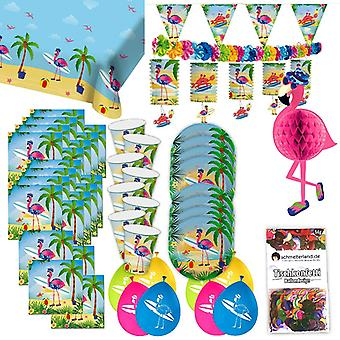 Flamingo Pink Tropical Party Partybox 49-teilig Flamingoparty Partypaket