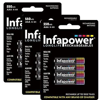 12 x Infapower B009 Rechargeable AAA Ni-MH Batteries 550mAh