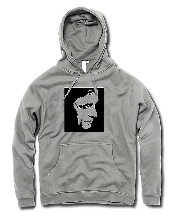 Mens Hoodie - Johnny Cash - BW - Pop Art - Face