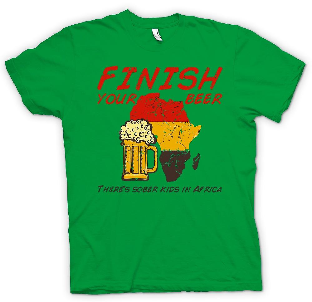 Mens T-shirt - Finish Your Beer Theres Sober Kids In Africa - Funny