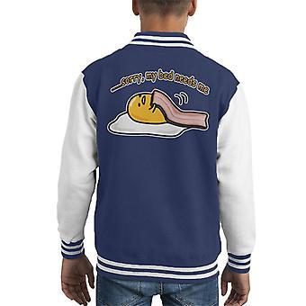 Sorry mijn Bed moet Me Gudetama Kid's Varsity Jacket