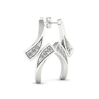 IGI Certified 10k White Gold 0.04ct TDW Diamond Bypass Style Earrings