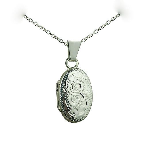 Silver 18x11mm hand engraved oval Locket with a rolo chain