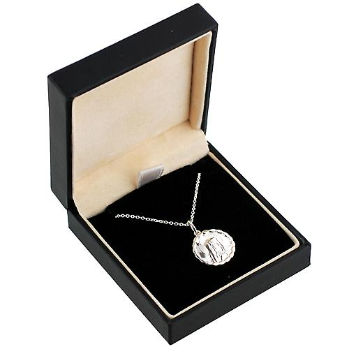Silver 16mm round Our Lady of Sorrows with Fancy edge Pendant with a rolo Chain 16 inches Only Suitable for Children