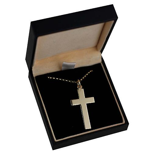 9ct Gold 34x19mm plain flat latin Cross with belcher Chain 16 inches Only Suitable for Children