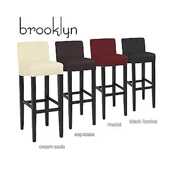 Brooklyn Contemporary Wood/Faux Leather Barstool