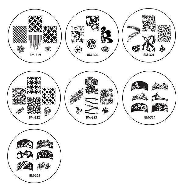 Nail Art Stamp Kit med 150 Designs Stickers - 1 X Stamper 20 X Metal Bildbrickor