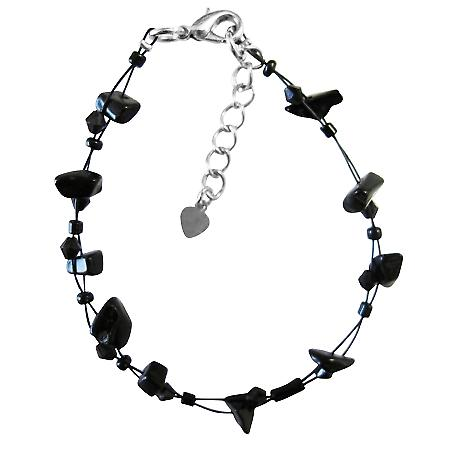 Under 5 Dollar Bracelet Gift Jewelry Cheap Jewelry Black Nugget Chips