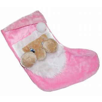 56cm Chunky Cheeked Santa Christmas Gift Stocking In Soft Pink Felt Pack of 1 (WSL630480PK)