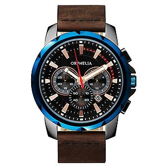 ORPHELIA Mens Chronograph Watch Five senses Brown Leather OR81501