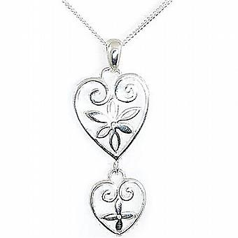 TOC Sterling Silver Double Heart Pendant Necklace 18