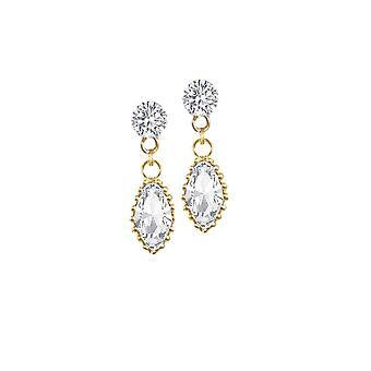 Evige kollektion inspireret klar østrigske Crystal guld Tone Drop gennemboret øreringe