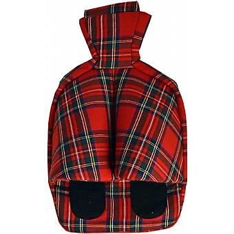 Cosy Foot Warmer Hot Water Bottle Slipper: Red Tartan Check