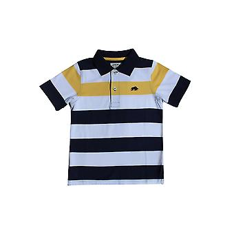 Kids Contrast Stripe Polo-White/Navy