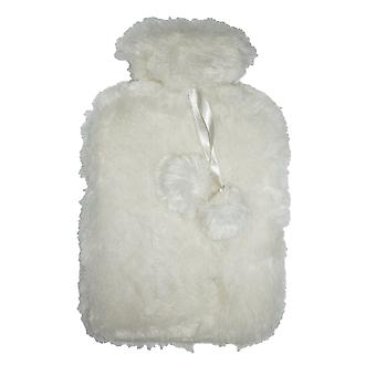 Silky Faux Fur Pom Pom Trim 2L Hot Water Bottle: Winter Snow