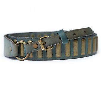 Maison Scotch Studded Green Leather Belt