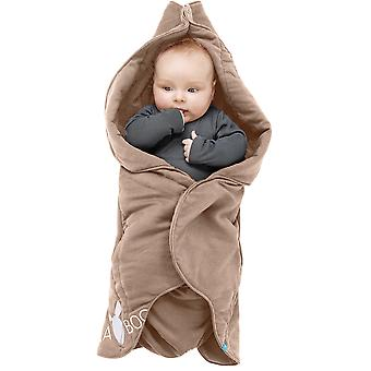 Wallaboo baby tæppe Fleur, til barnevogn, Moses kurv, krybbe, autostol, supersoft 100% bomuld, 0-10mths, taupe