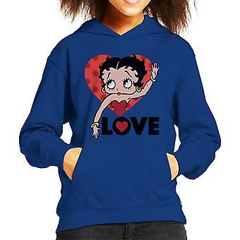 Betty Boop Liebe Herz Kid's Kapuzen Sweatshirt