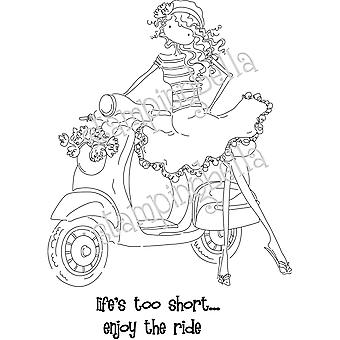 Stamping Bella Unmounted Rubber Stamp Uptown Girl Vienna And Her Vespa Eb223