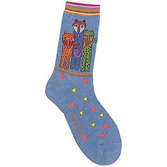 Laurel Burch Socks Polka Dot Leopard Denim Socks 1055D