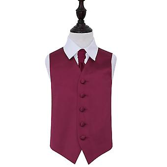 Boy's Plain Burgundy Satin Wedding Waistcoat & Cravat Set