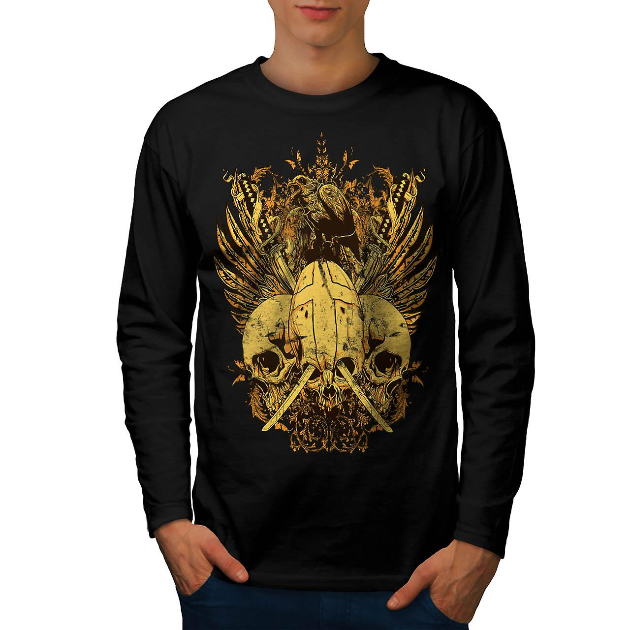 Skull Sword Fight Axe Death Bird Men Black Long Sleeve T-shirt | Wellcoda