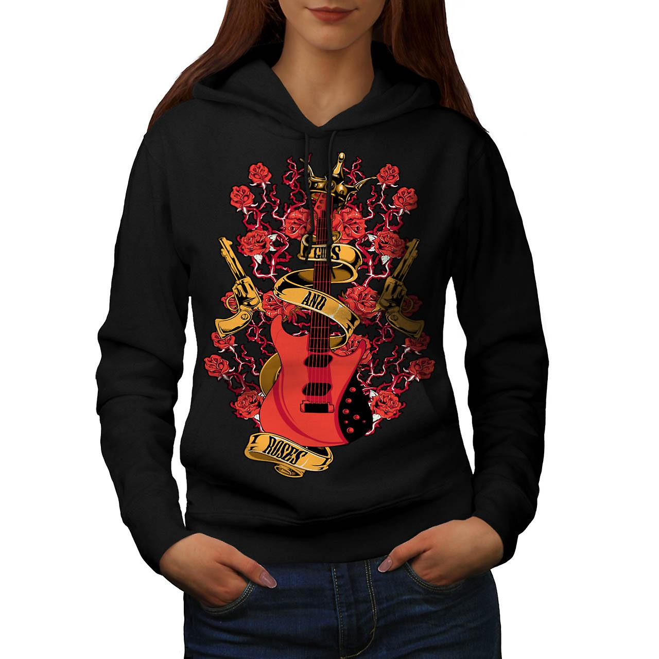Roses and Guns Rock Women Black Hoodie | Wellcoda