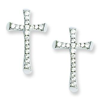 Sterling Silver and CZ Brilliant Embers Cross Post Earrings