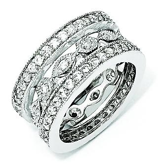 Sterling Silver CZ eternità tre Ring Set - formato dell'anello: 6-8