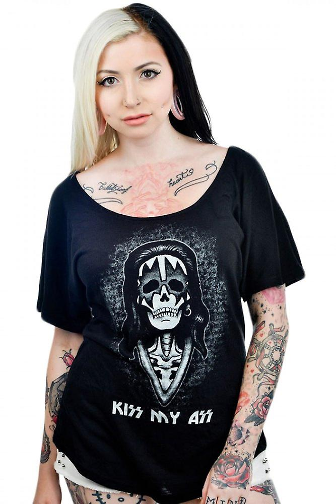 Too Fast Womens Black Kiss My Ass Scoop Neck Tshirt Relaxed Skeleton